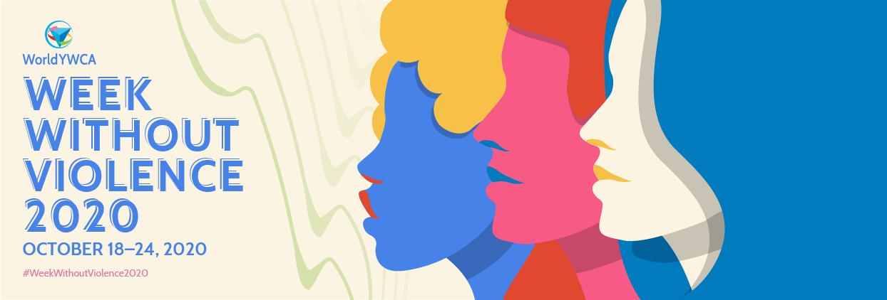 """Tecknade kvinnor i profil med texten """"Week Without Violence 2020"""""""